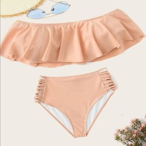 Light Pink Off the Shoulder High Waist Bikini Set